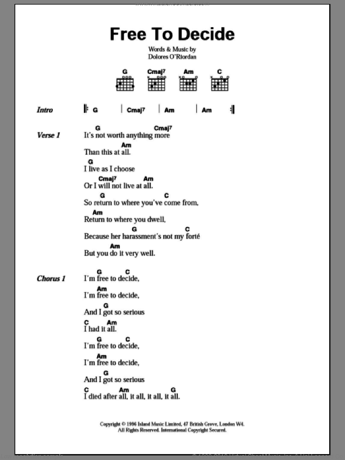 Free To Decide sheet music for guitar (chords) by Dolores O'Riordan and The Cranberries. Score Image Preview.