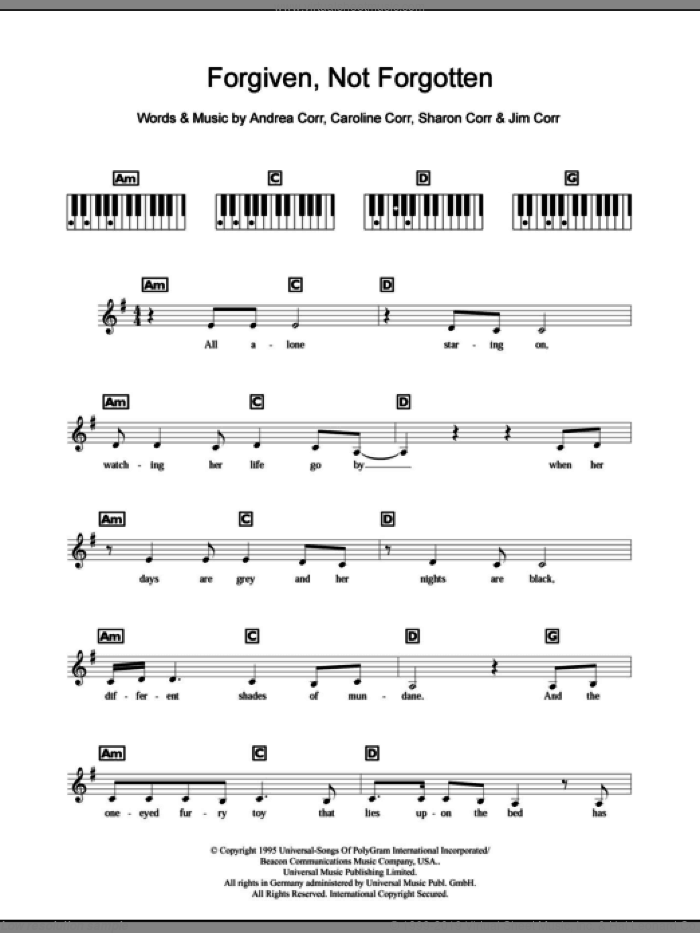 Forgiven, Not Forgotten sheet music for piano solo (chords, lyrics, melody) by Sharon Corr, The Corrs and Andrea Corr. Score Image Preview.