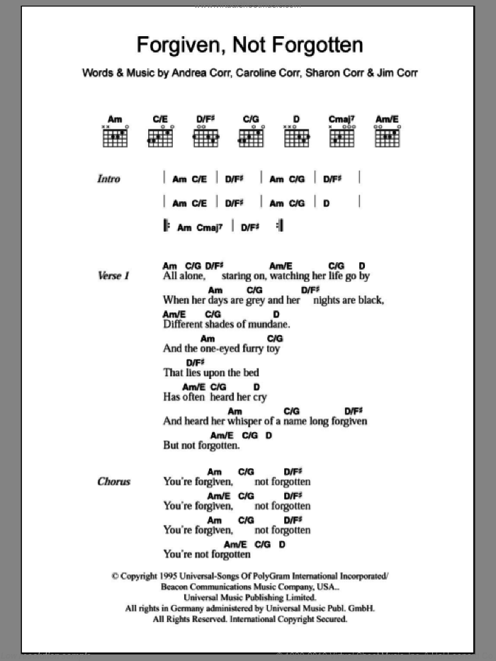 Forgiven, Not Forgotten sheet music for guitar (chords) by Sharon Corr, The Corrs and Andrea Corr