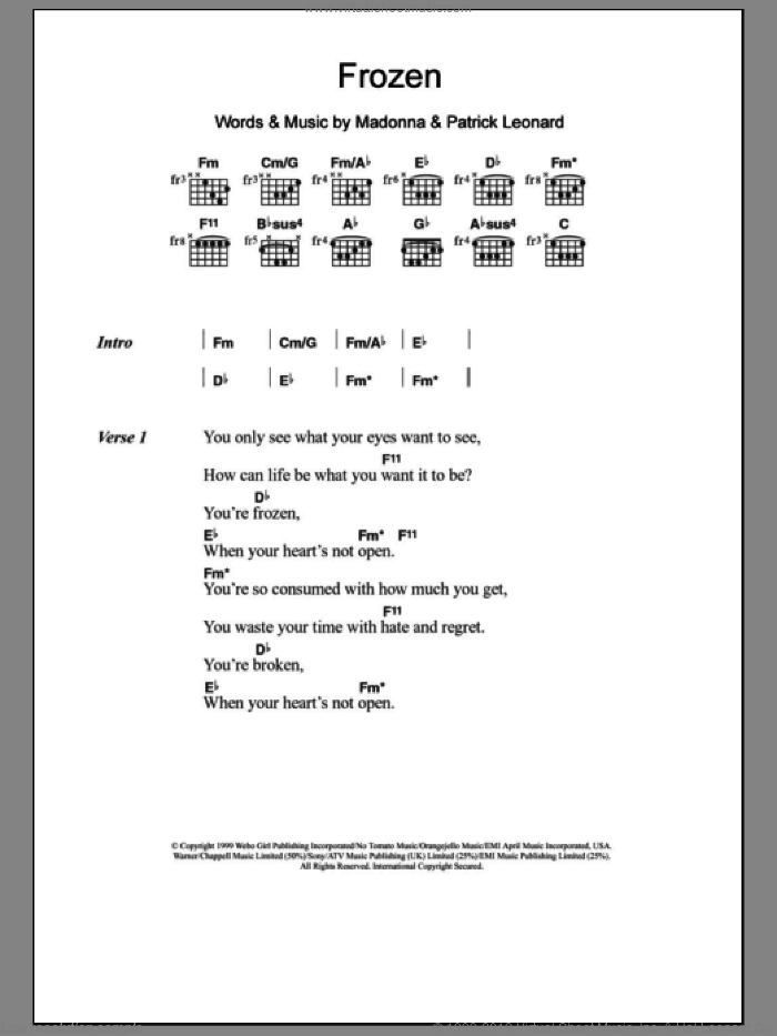 Frozen sheet music for guitar (chords) by Patrick Leonard and Madonna. Score Image Preview.