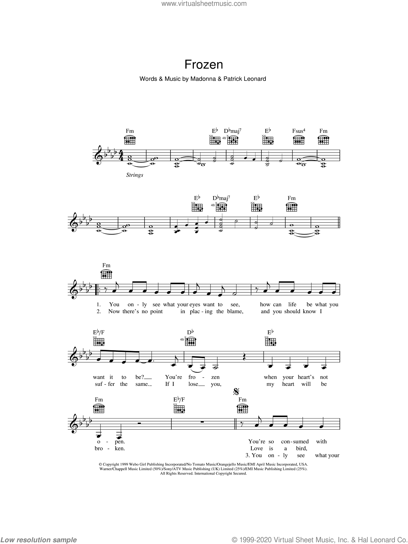 Frozen sheet music for voice and other instruments (fake book) by Madonna and Patrick Leonard. Score Image Preview.