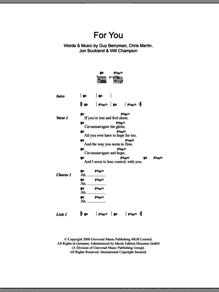 For You sheet music for guitar (chords) by Coldplay. Score Image Preview.