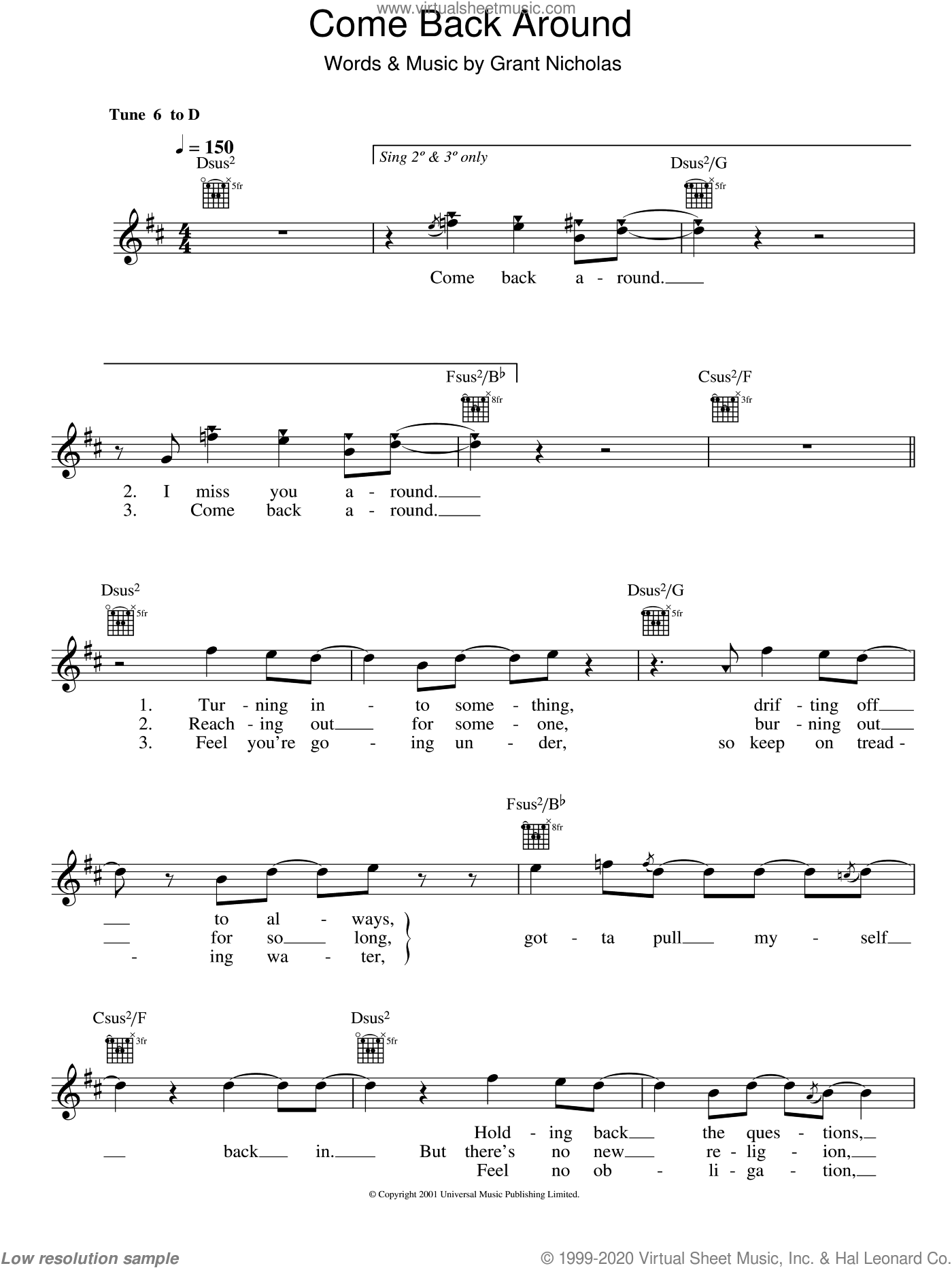 Come Back Around sheet music for voice and other instruments (fake book) by Feeder and Grant Nicholas, intermediate. Score Image Preview.