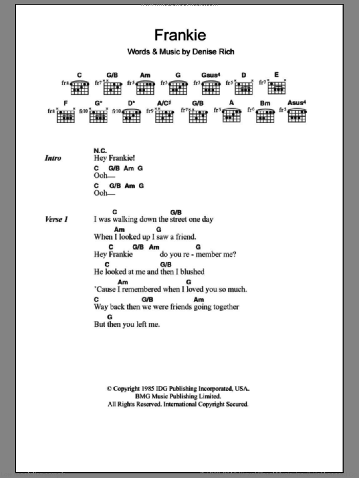 Frankie sheet music for guitar (chords) by Denise Rich and Sister Sledge. Score Image Preview.