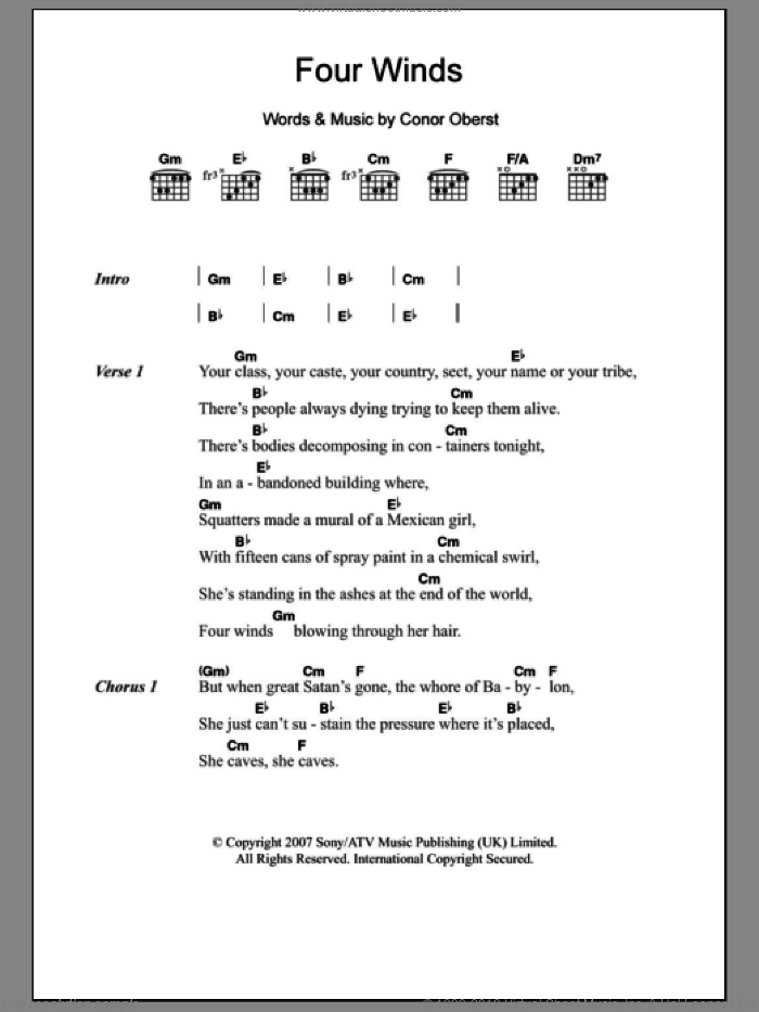 Four Winds sheet music for guitar (chords, lyrics, melody) by Conor Oberst