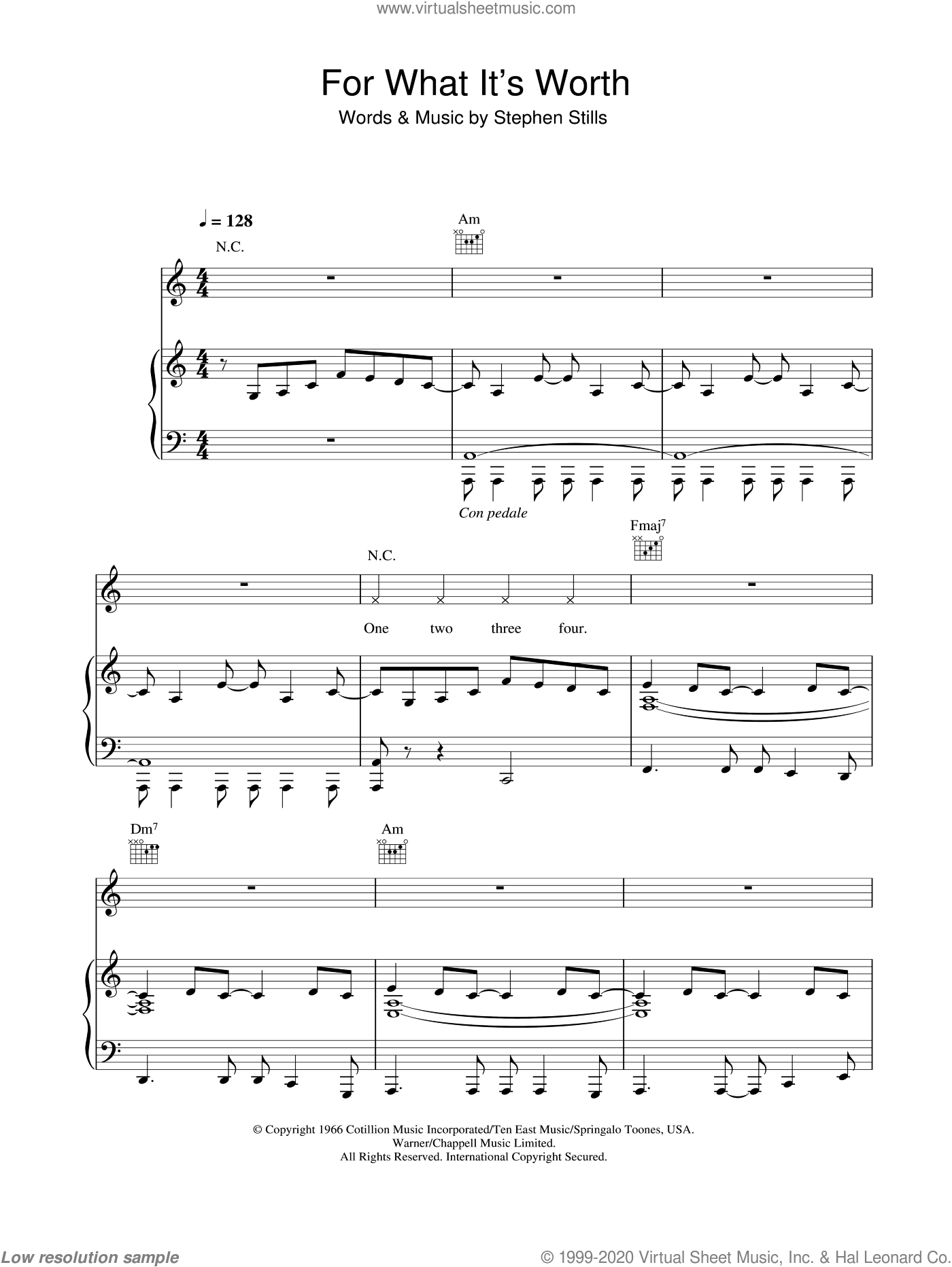 For What It's Worth sheet music for piano solo by Stephen Stills and Buffalo Springfield. Score Image Preview.