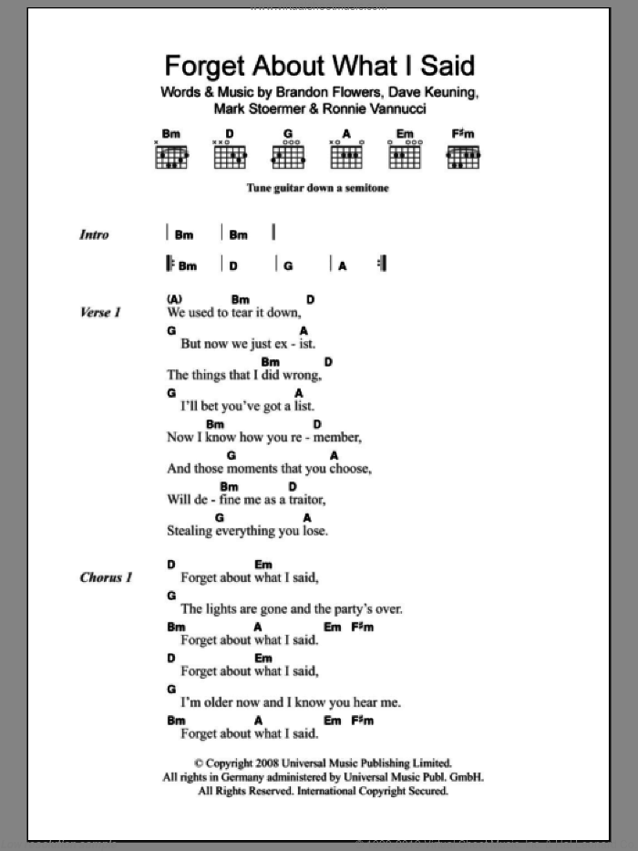 Forget About What I Said sheet music for guitar (chords) by The Killers, Brandon Flowers, Dave Keuning, Mark Stoermer and Ronnie Vannucci, intermediate skill level