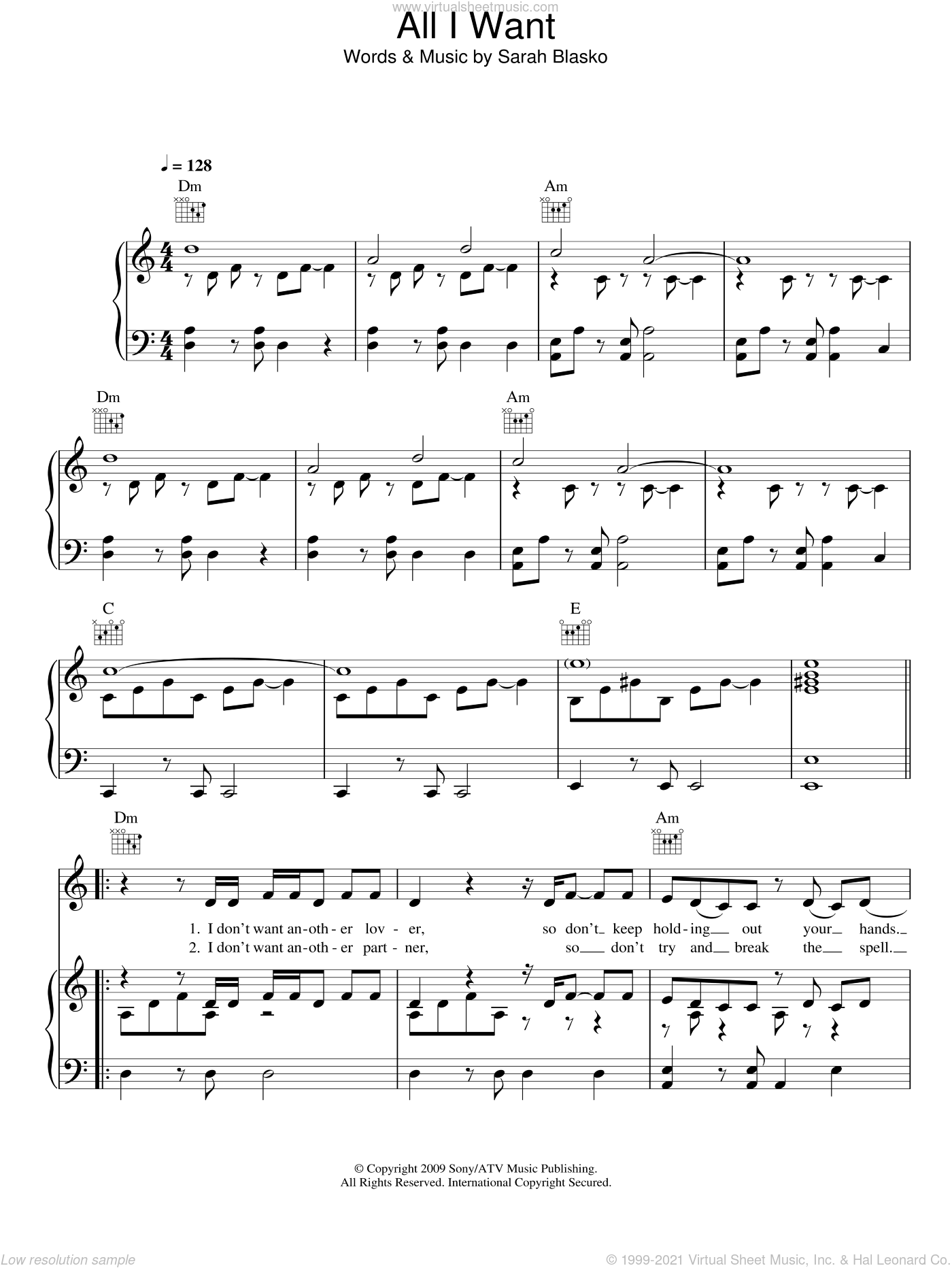 All I Want sheet music for voice, piano or guitar by Sarah Blasko. Score Image Preview.