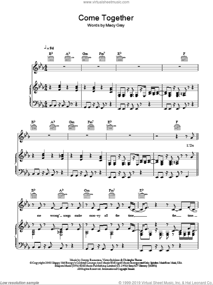 Come Together sheet music for voice, piano or guitar by Victor Indrizzo, Jeremy Ruzumna and Macy Gray. Score Image Preview.