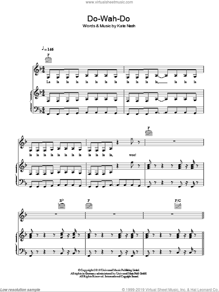 Do-Wah-Doo sheet music for voice, piano or guitar by Kate Nash