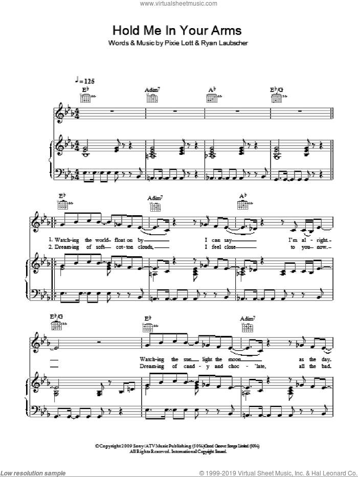 Hold Me In Your Arms sheet music for voice, piano or guitar by Ryan Laubscher and Pixie Lott. Score Image Preview.