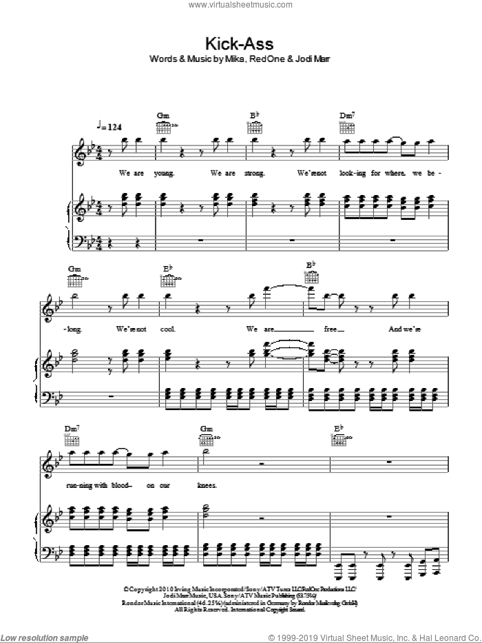 Kick Ass sheet music for voice, piano or guitar by RedOne
