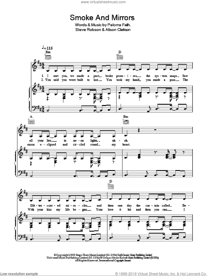 Faith - Smoke And Mirrors sheet music for voice, piano or guitar