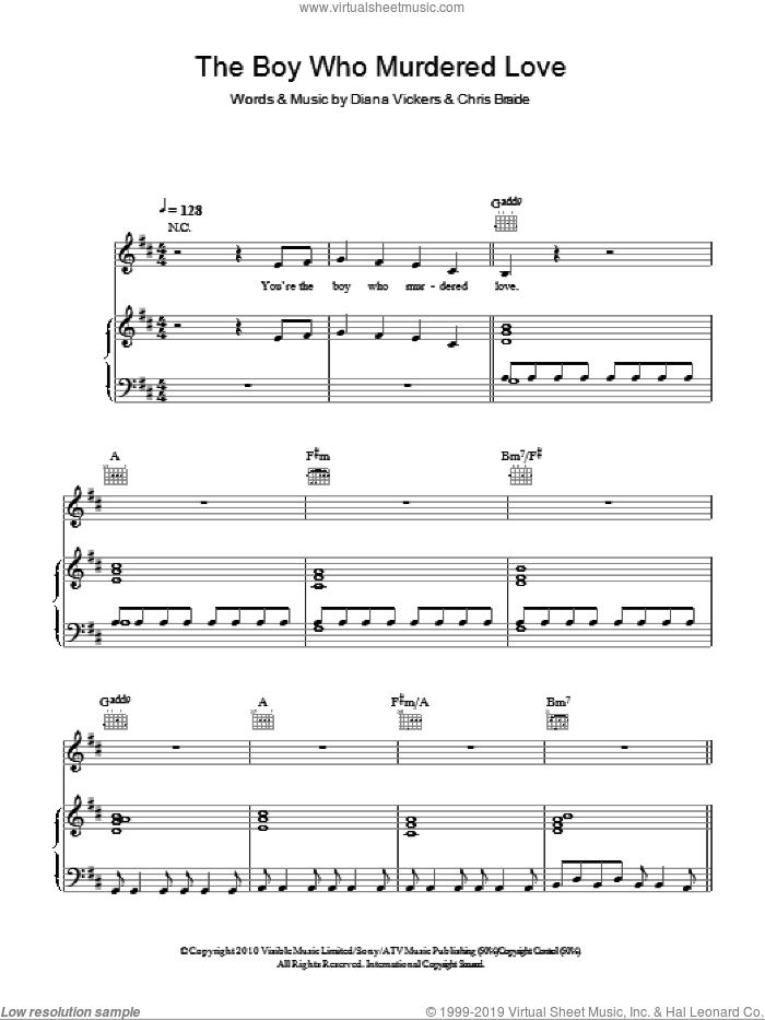 The Boy Who Murdered Love sheet music for voice, piano or guitar by Chris Braide. Score Image Preview.