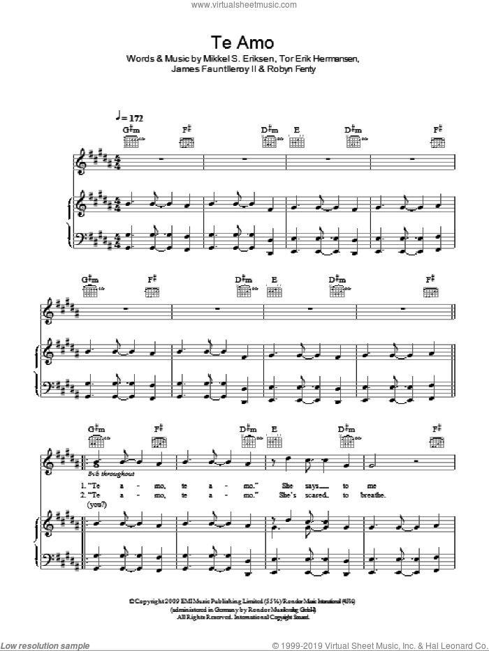 Te Amo sheet music for voice, piano or guitar by Rihanna and Tor Erik Hermansen. Score Image Preview.