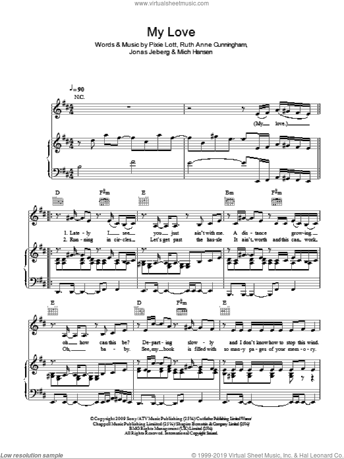 My Love sheet music for voice, piano or guitar by Ruth Anne Cunningham