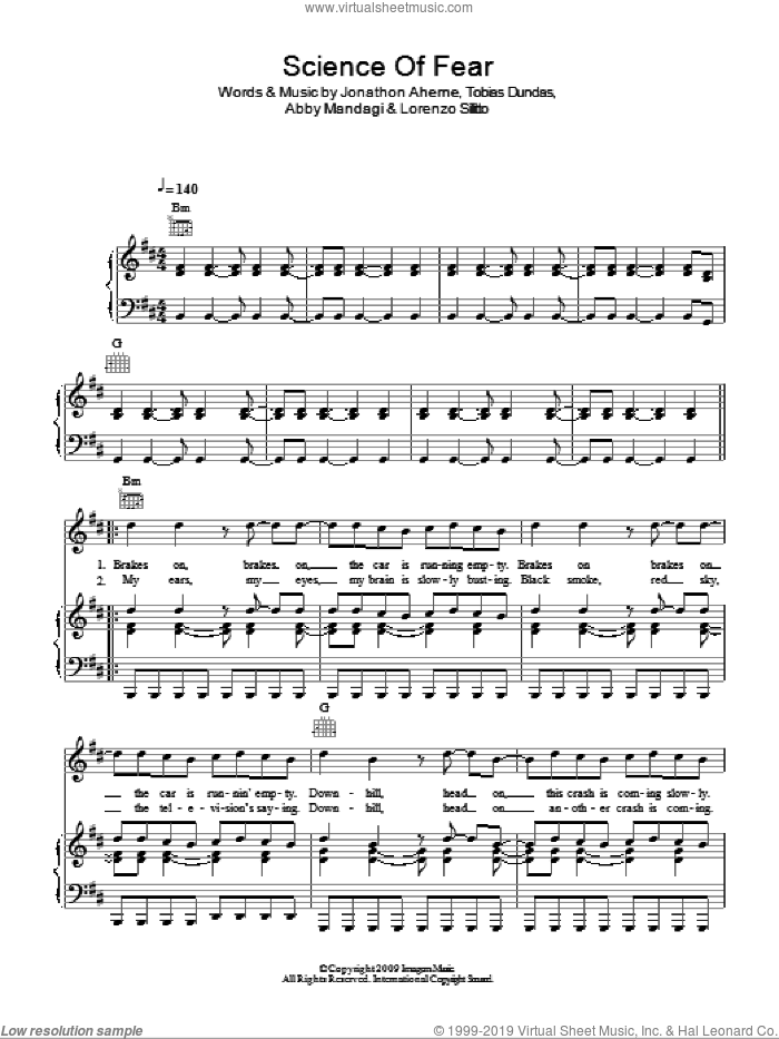 Science Of Fear sheet music for voice, piano or guitar by The Temper Trap, Abby Mandagi, Jonathon Aherne, Lorenzo Sillitto and Tobias Dundas, intermediate skill level
