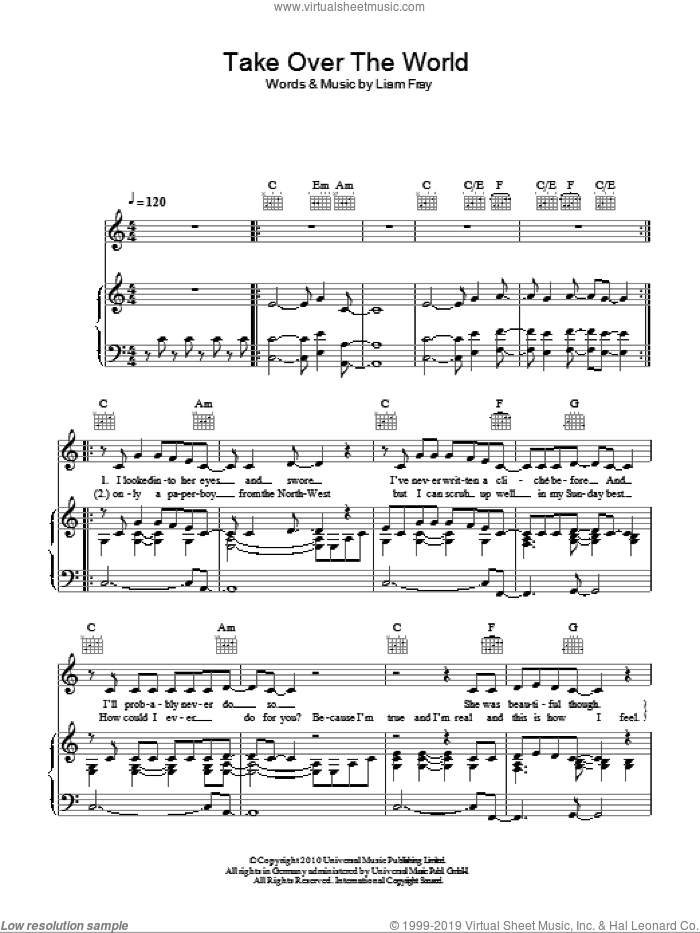 Take Over The World sheet music for voice, piano or guitar by Liam Fray