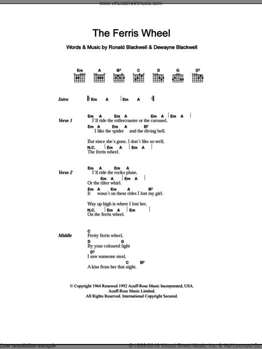 The Ferris Wheel sheet music for guitar (chords) by Ronald Blackwell