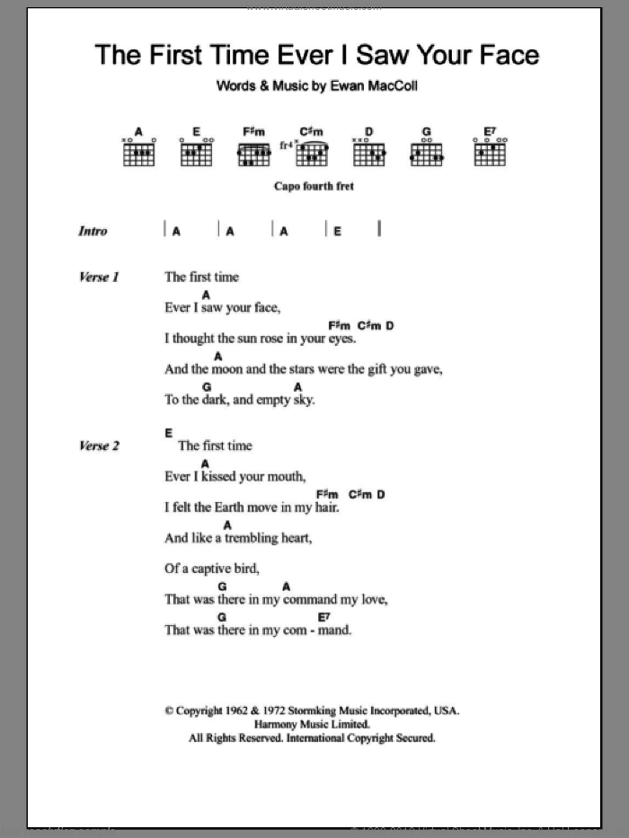 The First Time Ever I Saw Your Face sheet music for guitar (chords, lyrics, melody) by Ewan MacColl