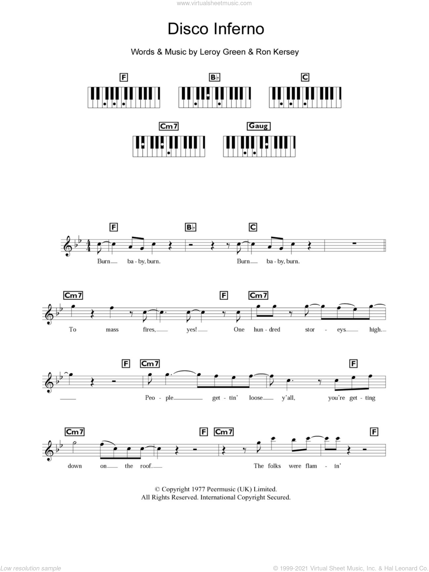 Disco Inferno sheet music for piano solo (chords, lyrics, melody) by Ron Kersey. Score Image Preview.