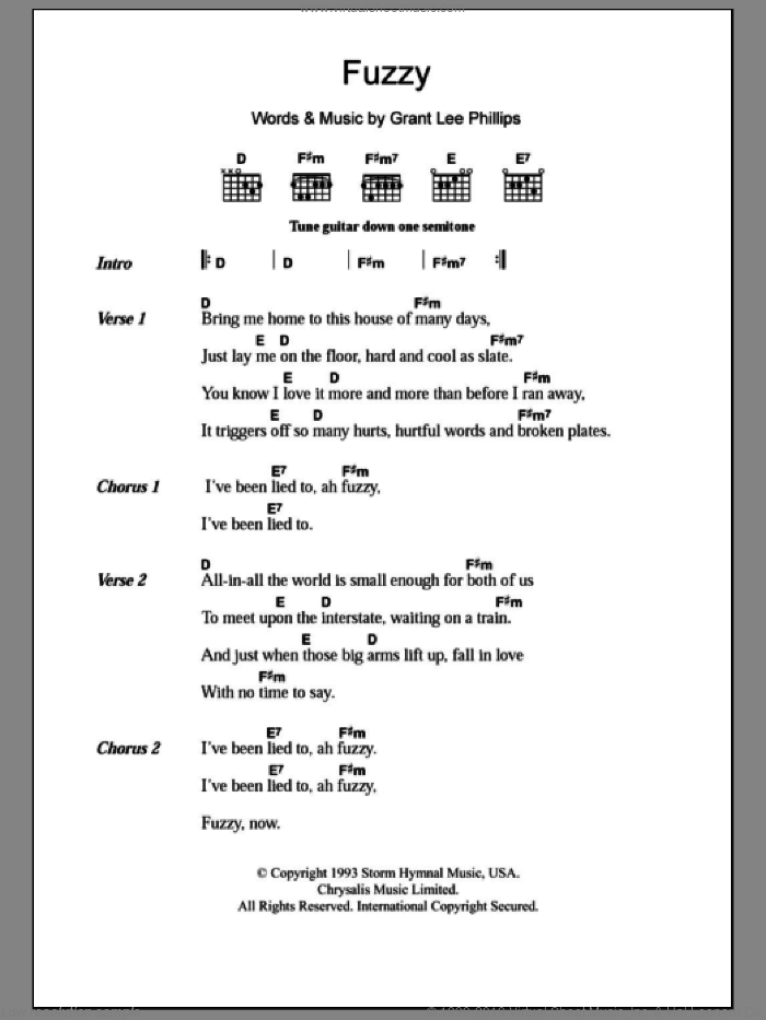Fuzzy sheet music for guitar (chords) by Grant Lee Buffalo and Grant Lee Phillips, intermediate skill level