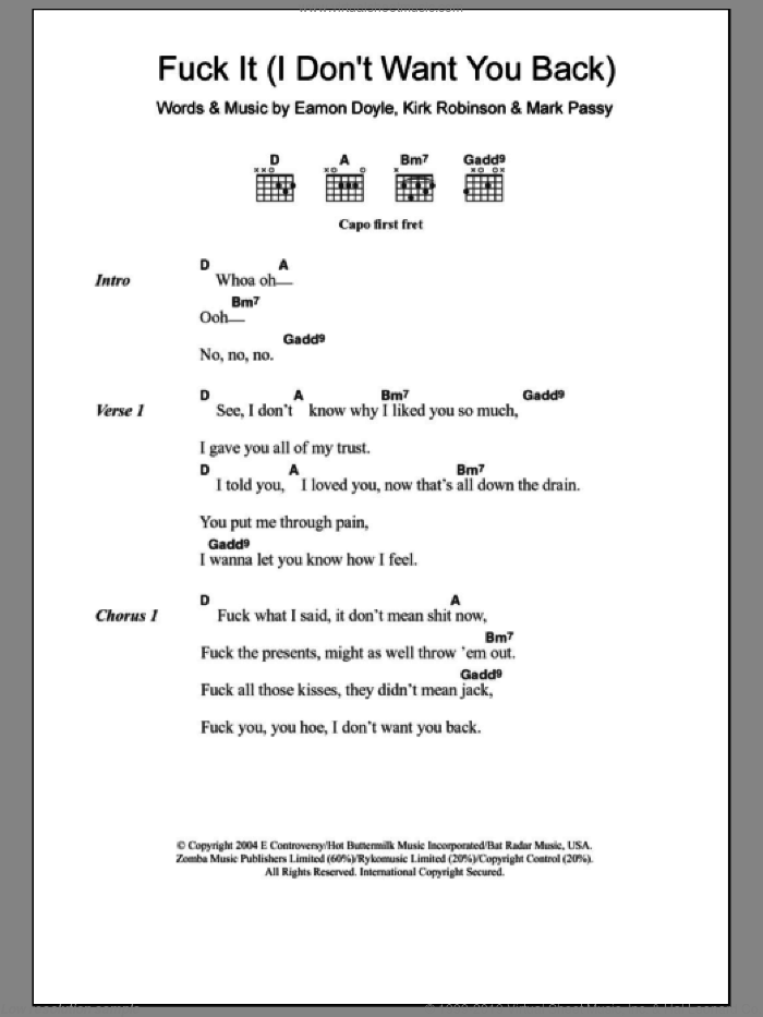 F*** It (I Don't Want You Back) sheet music for guitar (chords) by Eamon, Eamon Doyle, Kirk Robinson and Mark Passy, intermediate. Score Image Preview.