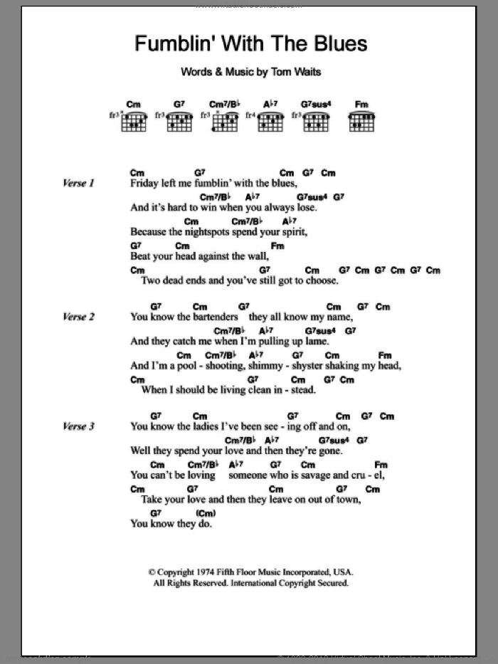 Fumblin' With The Blues sheet music for guitar (chords) by Tom Waits, intermediate