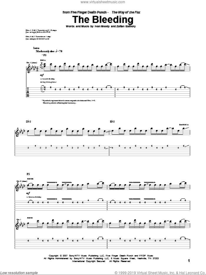 The Bleeding sheet music for guitar (tablature) by Zoltan Bathory and Five Finger Death Punch
