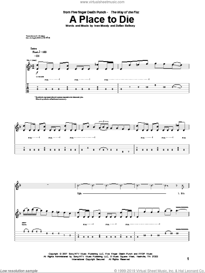 A Place To Die sheet music for guitar (tablature) by Zoltan Bathory and Five Finger Death Punch. Score Image Preview.