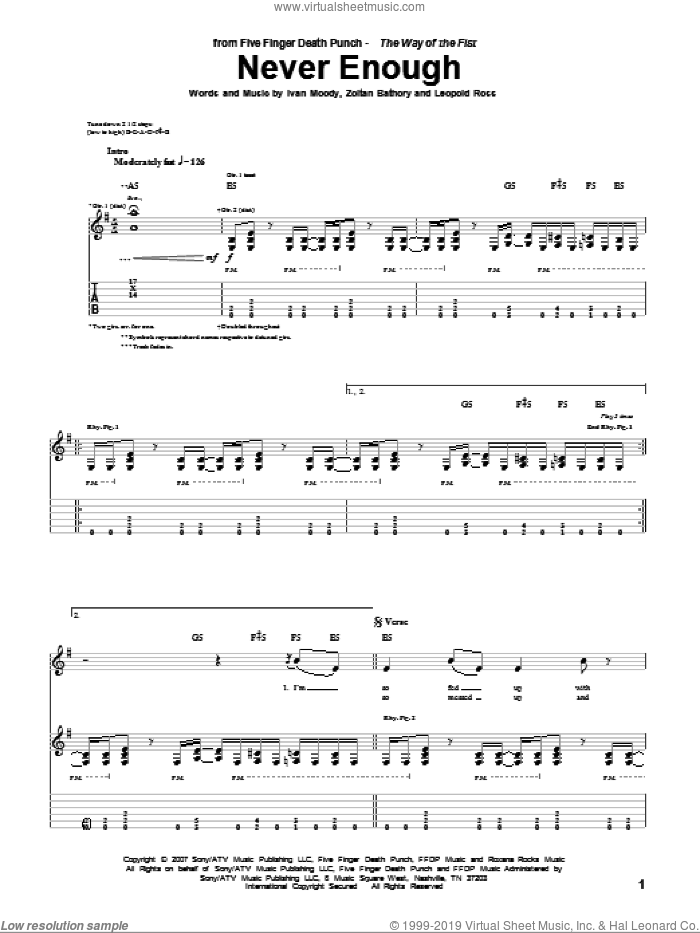 Never Enough sheet music for guitar (tablature) by Zoltan Bathory and Five Finger Death Punch. Score Image Preview.