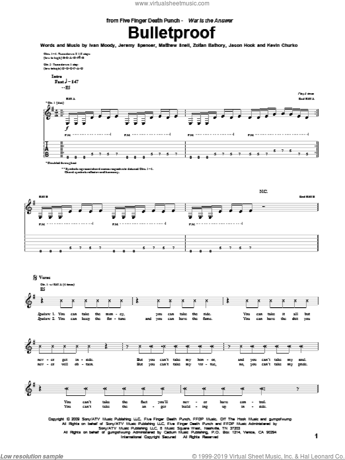 Bulletproof sheet music for guitar (tablature) by Five Finger Death Punch, Ivan Moody, Jason Hook, Jeremy Spencer, Kevin Churko, Matthew Snell and Zoltan Bathory, intermediate skill level