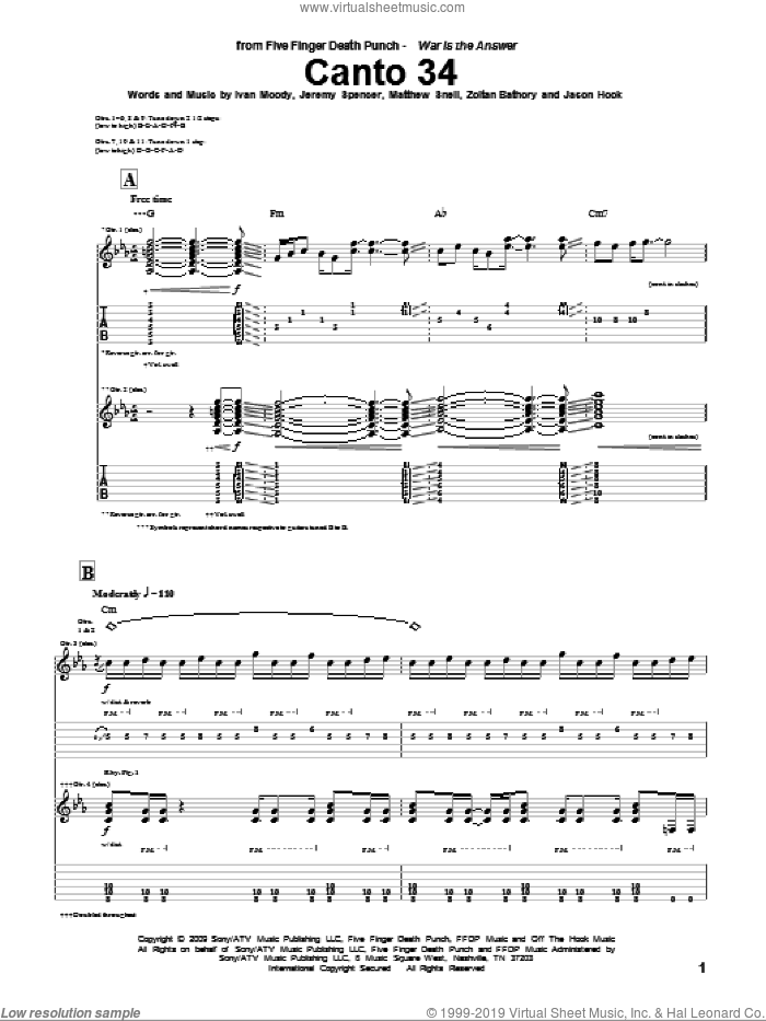 Canto 34 sheet music for guitar (tablature) by Zoltan Bathory and Five Finger Death Punch. Score Image Preview.