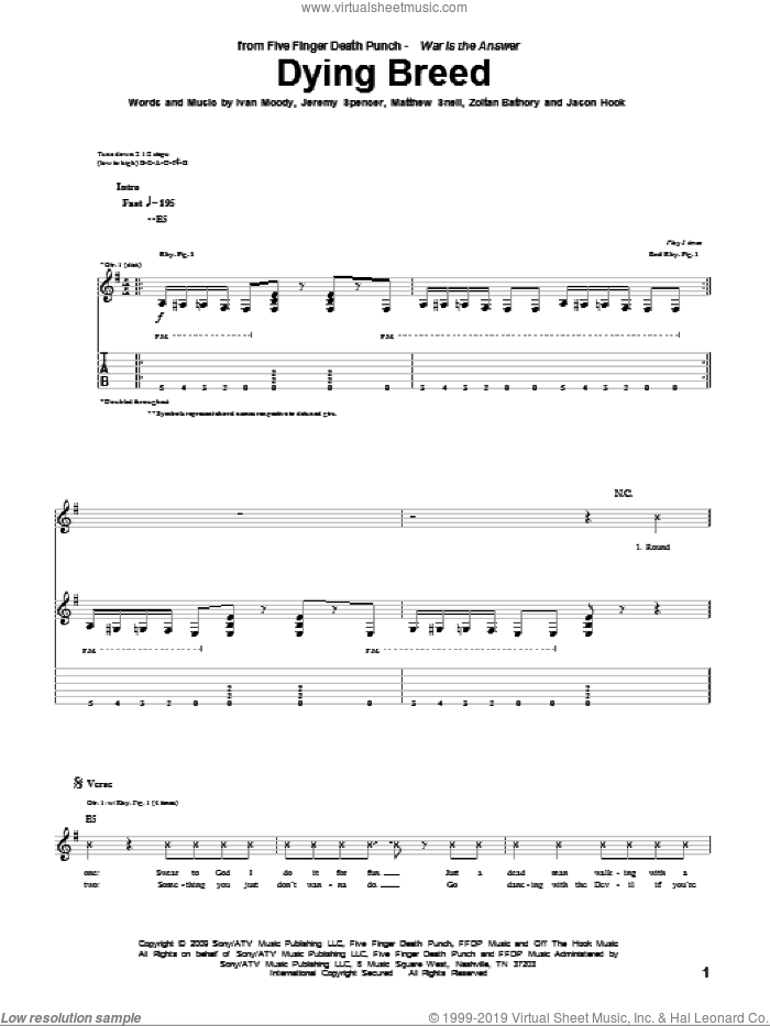 Dying Breed sheet music for guitar (tablature) by Zoltan Bathory and Five Finger Death Punch. Score Image Preview.