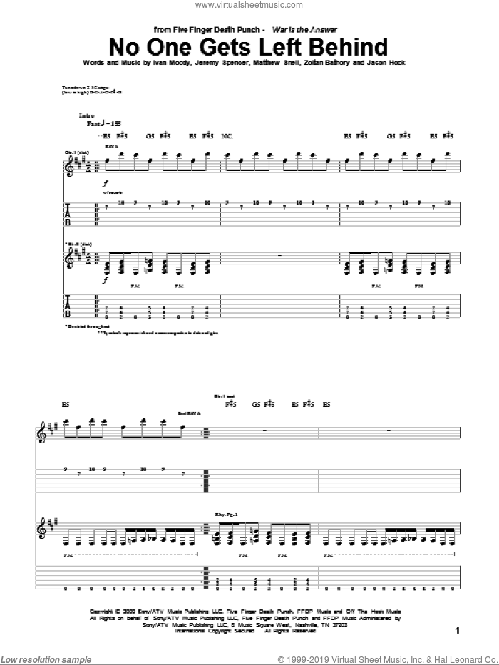 No One Gets Left Behind sheet music for guitar (tablature) by Zoltan Bathory and Five Finger Death Punch. Score Image Preview.