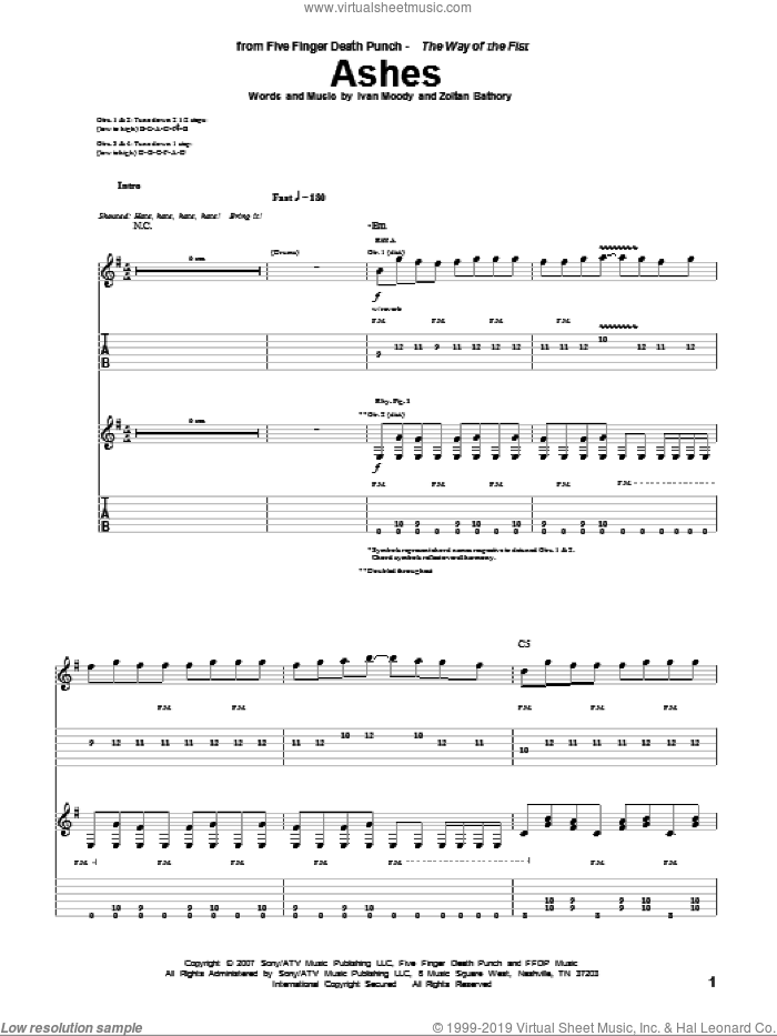 Ashes sheet music for guitar (tablature) by Zoltan Bathory
