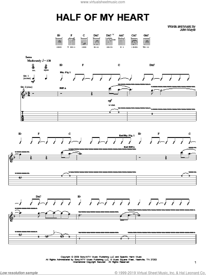 Half Of My Heart sheet music for guitar solo (chords) by John Mayer featuring Taylor Swift