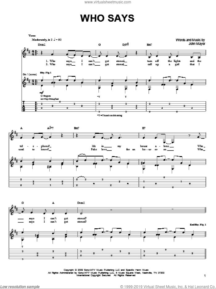 Who Says sheet music for guitar solo (chords) by John Mayer. Score Image Preview.