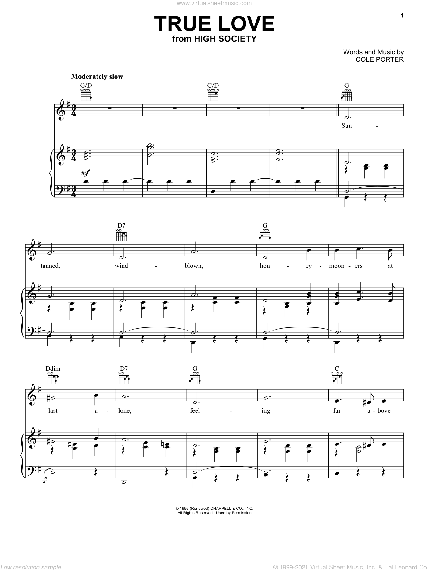 True Love sheet music for voice, piano or guitar by Cole Porter