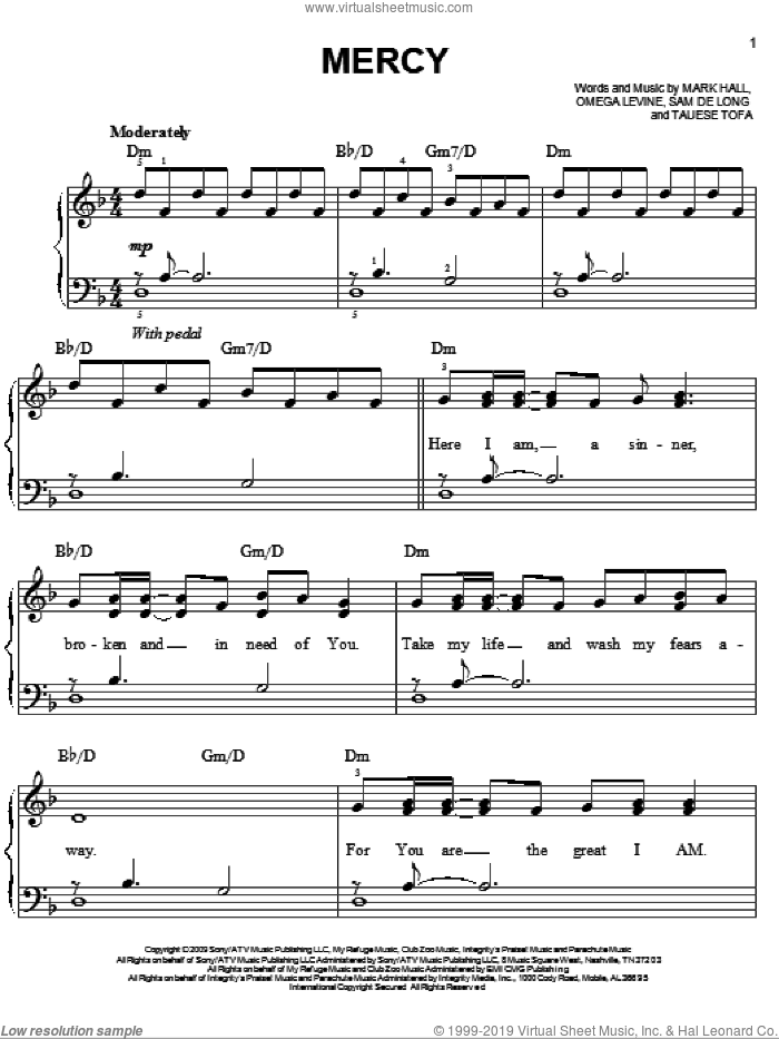 Mercy sheet music for piano solo by Casting Crowns, Mark Hall, Omega Levine, Sam de Long and Tauese Tofa, easy skill level