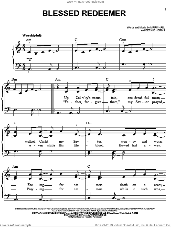 Blessed Redeemer sheet music for piano solo (chords) by Mark Hall