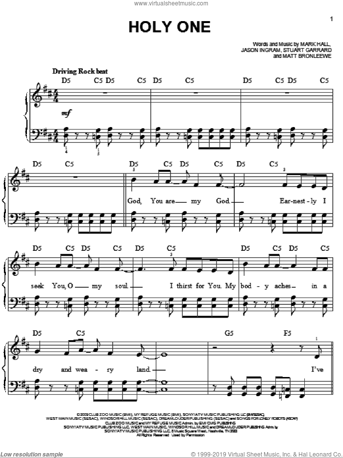 Holy One sheet music for piano solo by Stuart Garrard, Casting Crowns, Jason Ingram, Mark Hall and Matt Bronleewe. Score Image Preview.