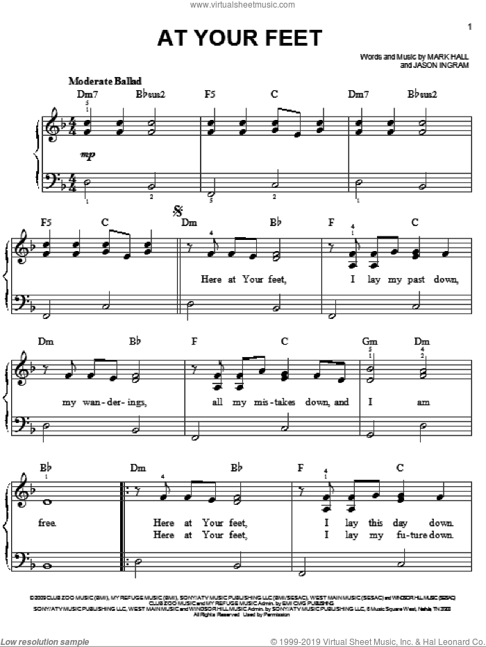 At Your Feet sheet music for piano solo by Casting Crowns, Jason Ingram and Mark Hall, easy. Score Image Preview.