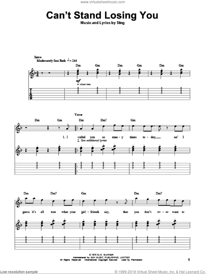 Can't Stand Losing You sheet music for guitar (tablature, play-along) by The Police and Sting. Score Image Preview.