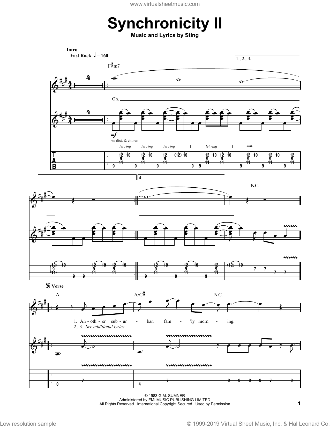 Synchronicity II sheet music for guitar (tablature, play-along) by The Police and Sting, intermediate. Score Image Preview.