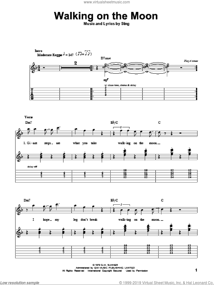 Walking On The Moon sheet music for guitar (tablature, play-along) by The Police and Sting. Score Image Preview.