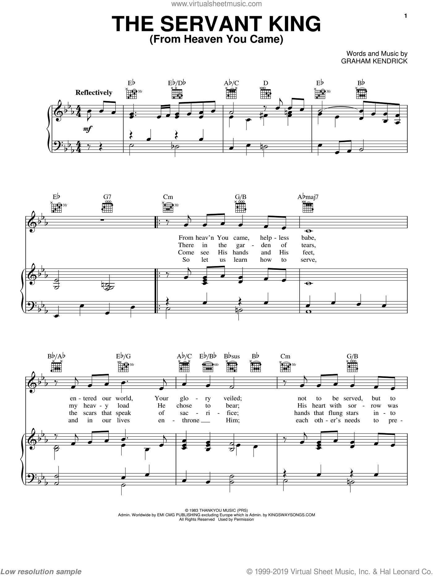 The Servant King From Heaven You Came sheet music for voice, piano or guitar by Graham Kendrick, intermediate skill level
