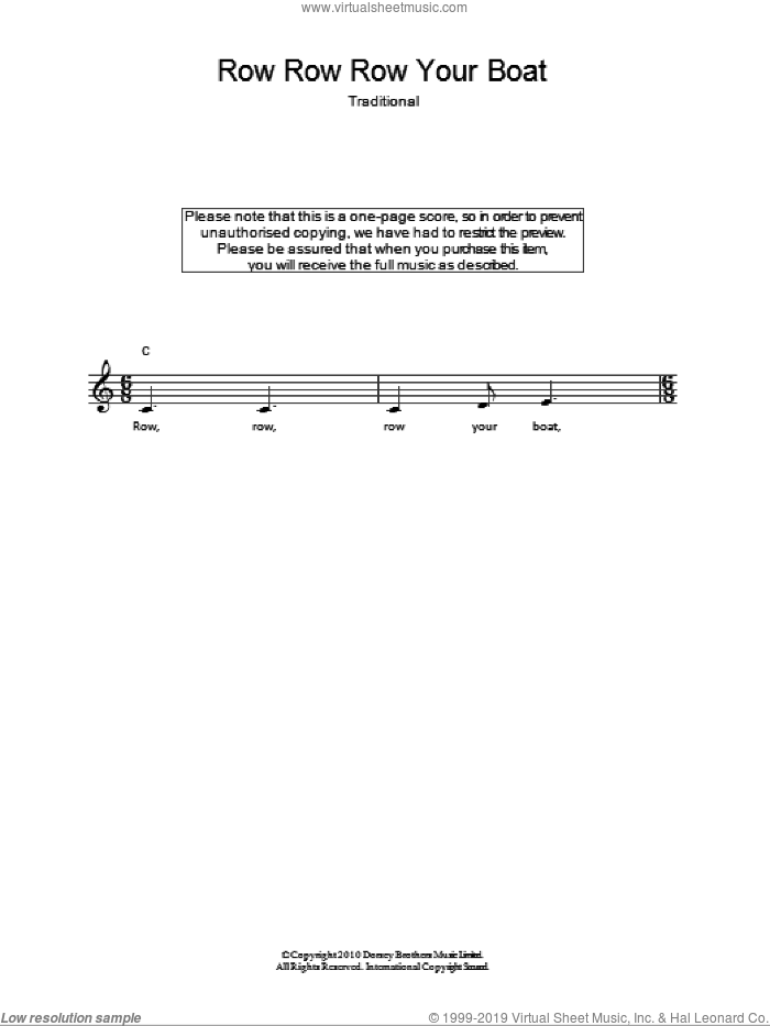 Row, Row, Row Your Boat sheet music for voice and other instruments (fake book), intermediate skill level
