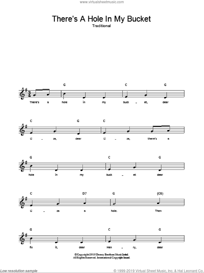 There's A Hole In My Bucket sheet music for voice and other instruments (fake book), intermediate skill level