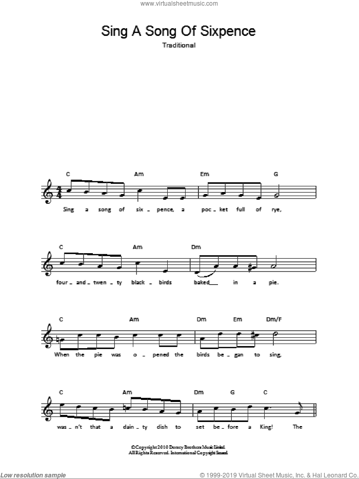Sing A Song Of Sixpence sheet music for voice and other instruments (fake book). Score Image Preview.